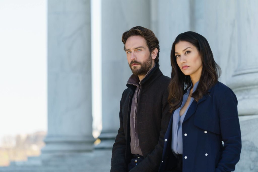 "SLEEPY HOLLOW: L-R: Tom Mison and Janina Gavankar in the ""Columbia"" Season Four premiere episode of SLEEPY HOLLOW airing Friday, Jan. 4 (9:00-10:00 PM ET/PT) on FOX. ©2017 Fox Broadcasting Co. CR: Tina Rowden/FOX"